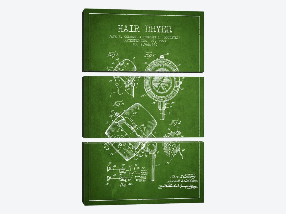 Hair Dryer Sound Green Patent Blueprint by Aged Pixel 3-piece Canvas Wall Art
