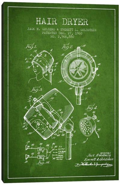 Hair Dryer Sound Green Patent Blueprint Canvas Art Print