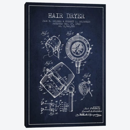 Hair Dryer Sound Navy Blue Patent Blueprint Canvas Print #ADP335} by Aged Pixel Canvas Wall Art