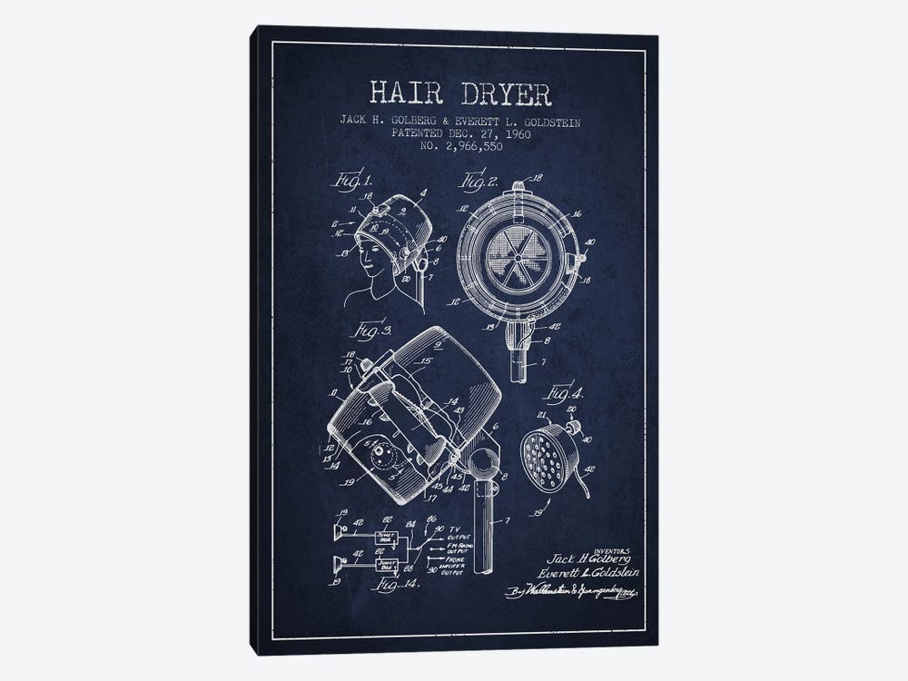 Hair Dryer Sound Navy Blue Patent Blueprint by Aged Pixel 1-piece Canvas Print