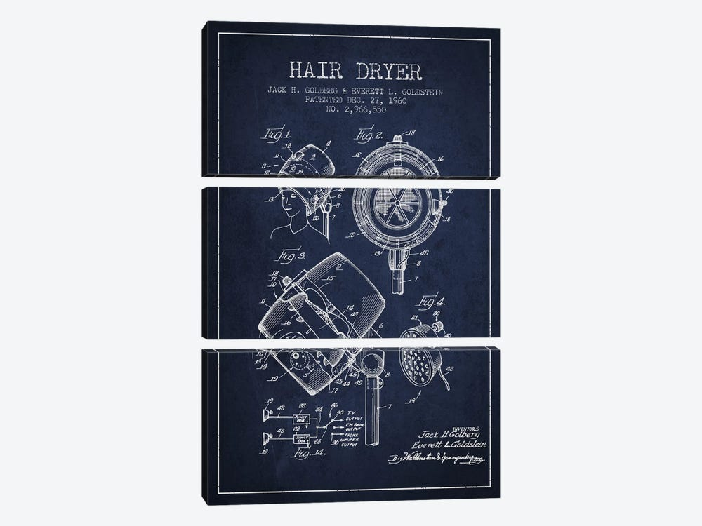 Hair Dryer Sound Navy Blue Patent Blueprint by Aged Pixel 3-piece Canvas Art Print