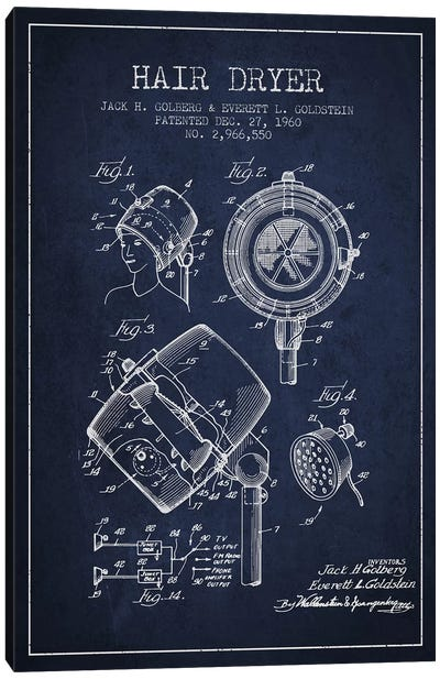 Hair Dryer Sound Navy Blue Patent Blueprint Canvas Art Print