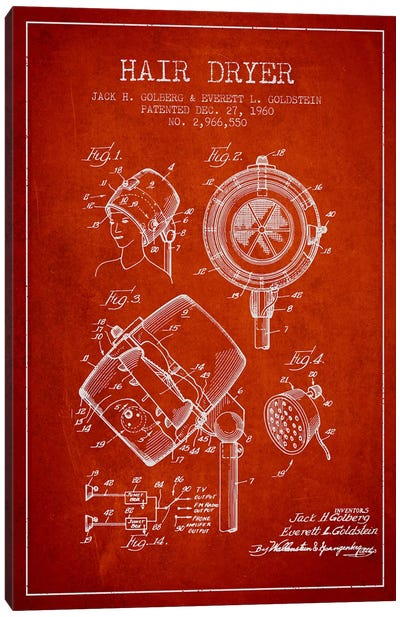 Hair Dryer Sound Red Patent Blueprint Canvas Art Print