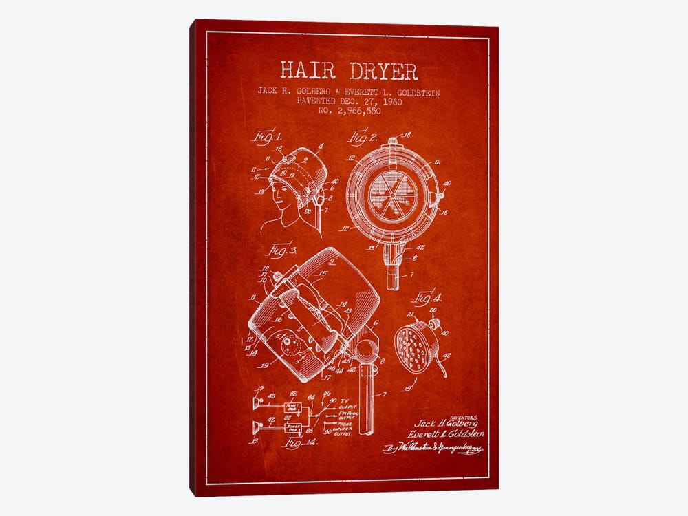 Hair Dryer Sound Red Patent Blueprint by Aged Pixel 1-piece Canvas Artwork