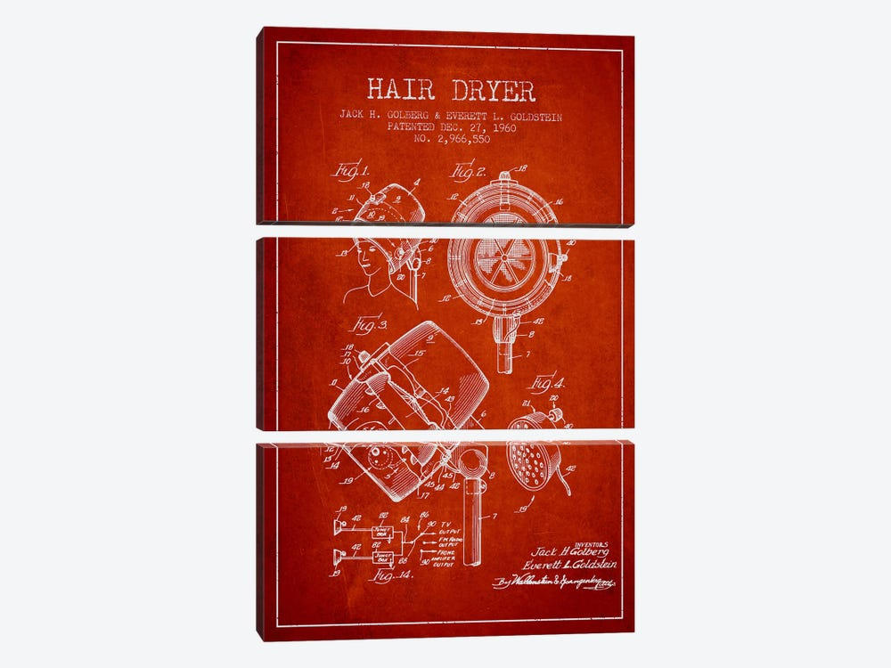 Hair Dryer Sound Red Patent Blueprint by Aged Pixel 3-piece Canvas Wall Art