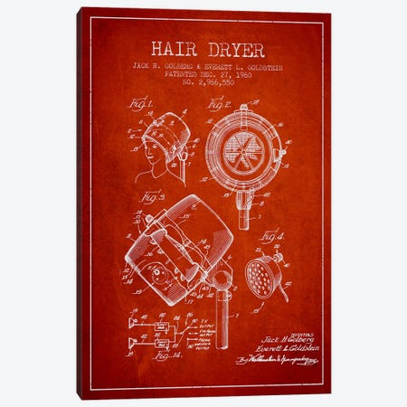 Hair Dryer Sound Red Patent Blueprint Canvas Print #ADP336} by Aged Pixel Canvas Art