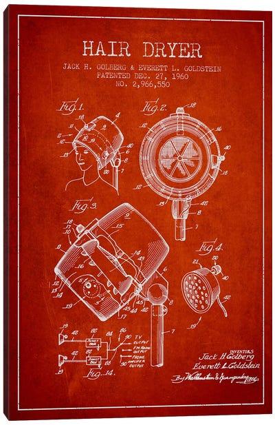 Hair Dryer Sound Red Patent Blueprint Canvas Art Print