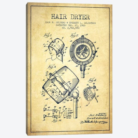 Hair Dryer Sound Vintage Patent Blueprint Canvas Print #ADP337} by Aged Pixel Canvas Art