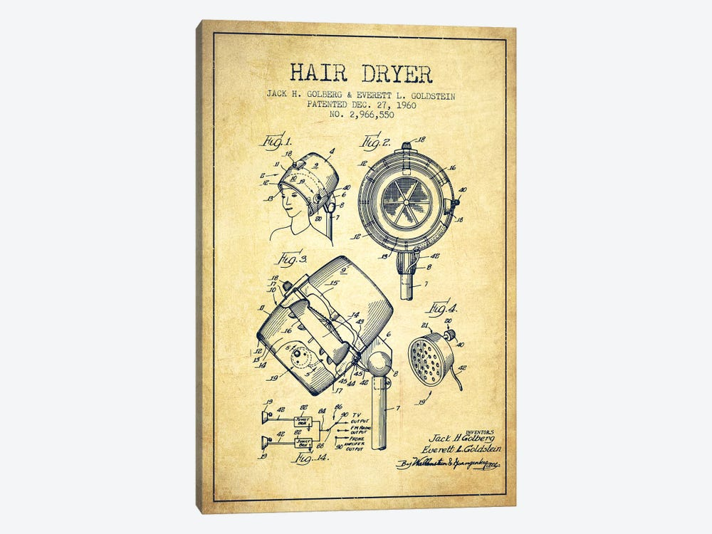 Hair Dryer Sound Vintage Patent Blueprint by Aged Pixel 1-piece Canvas Art Print