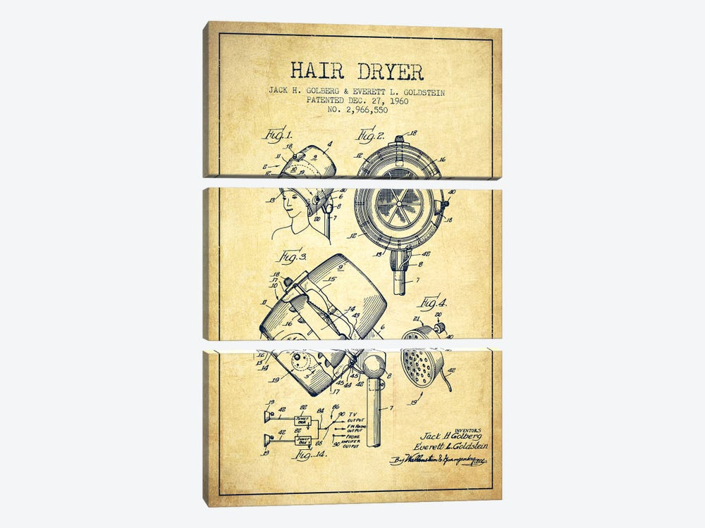Hair Dryer Sound Vintage Patent Blueprint by Aged Pixel 3-piece Art Print