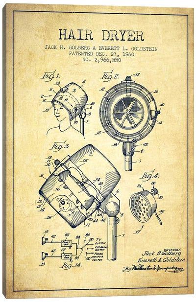 Hair Dryer Sound Vintage Patent Blueprint Canvas Art Print