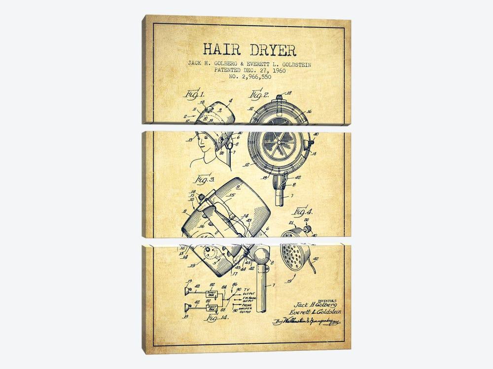Hair Dryer Sound Vintage Patent Blueprint by Aged Pixel 3-piece Art Print