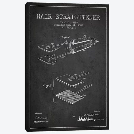 Hair Straightener Charcoal Patent Blueprint Canvas Print #ADP338} by Aged Pixel Art Print