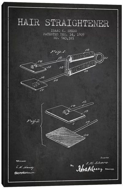 Hair Straightener Charcoal Patent Blueprint Canvas Art Print