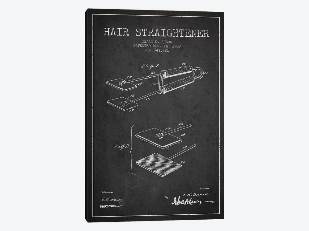 Hair Straightener Charcoal Patent Blueprint by Aged Pixel 1-piece Canvas Art