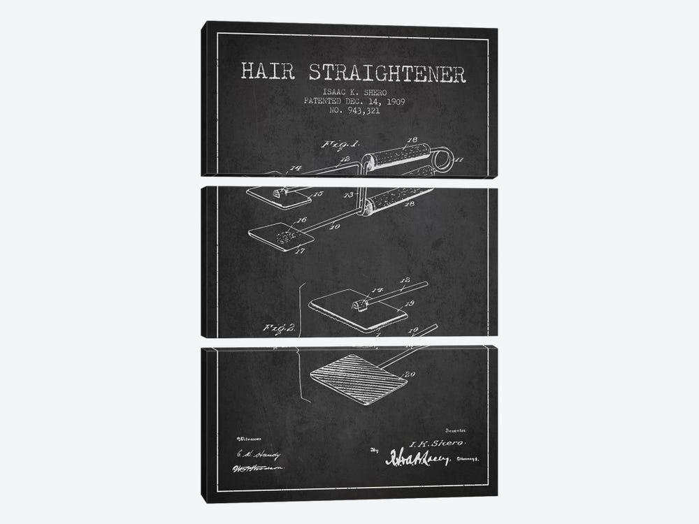 Hair Straightener Charcoal Patent Blueprint by Aged Pixel 3-piece Canvas Wall Art
