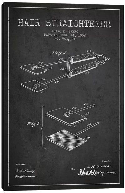 Hair Straightener Charcoal Patent Blueprint Canvas Art Print