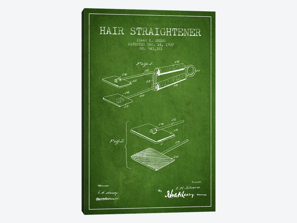 Hair Straightener Green Patent Blueprint by Aged Pixel 1-piece Canvas Art Print