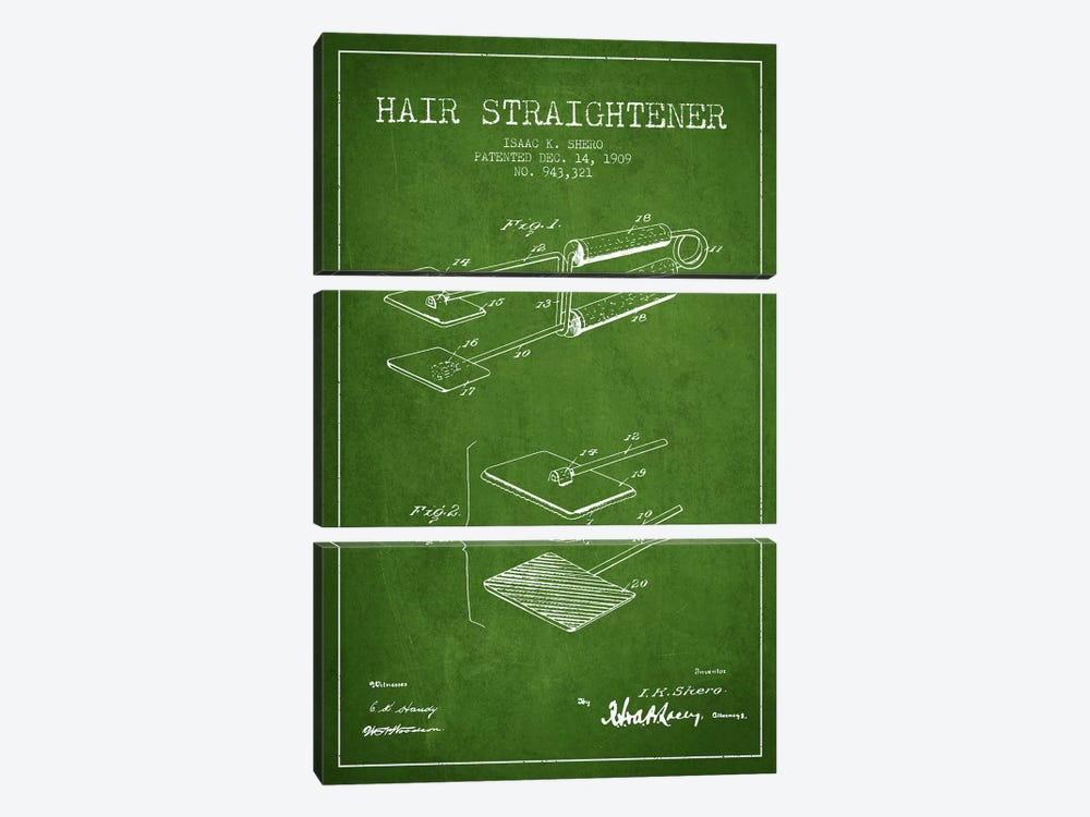 Hair Straightener Green Patent Blueprint by Aged Pixel 3-piece Canvas Art Print