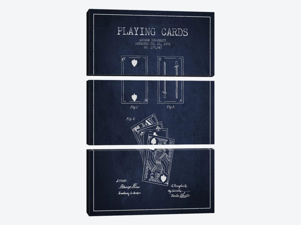 Dougherty Cards Navy Blue Patent Blueprint 3-piece Canvas Art Print