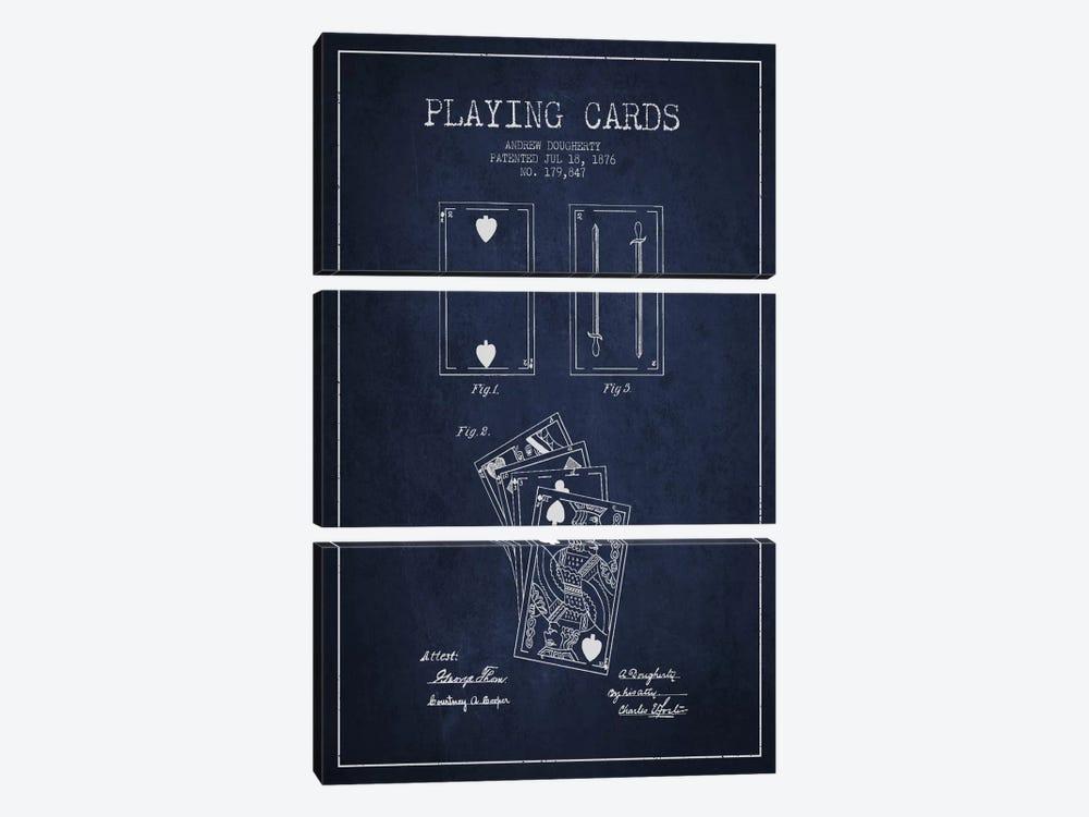 Dougherty Cards Navy Blue Patent Blueprint by Aged Pixel 3-piece Canvas Art Print