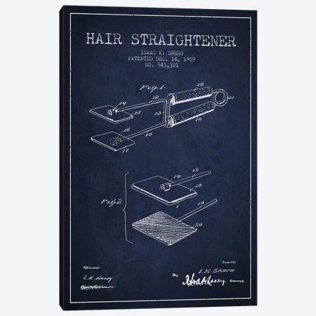 Hair Straightener Navy Blue Patent Blueprint Canvas Print #ADP340} by Aged Pixel Canvas Wall Art