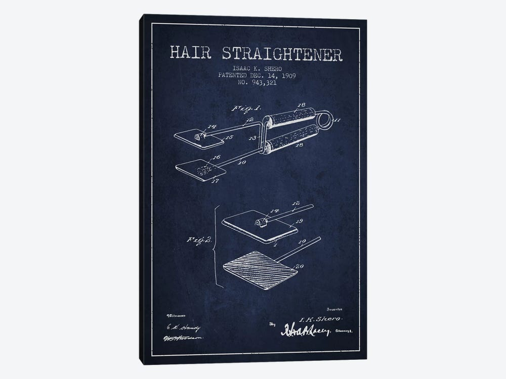 Hair Straightener Navy Blue Patent Blueprint by Aged Pixel 1-piece Canvas Print