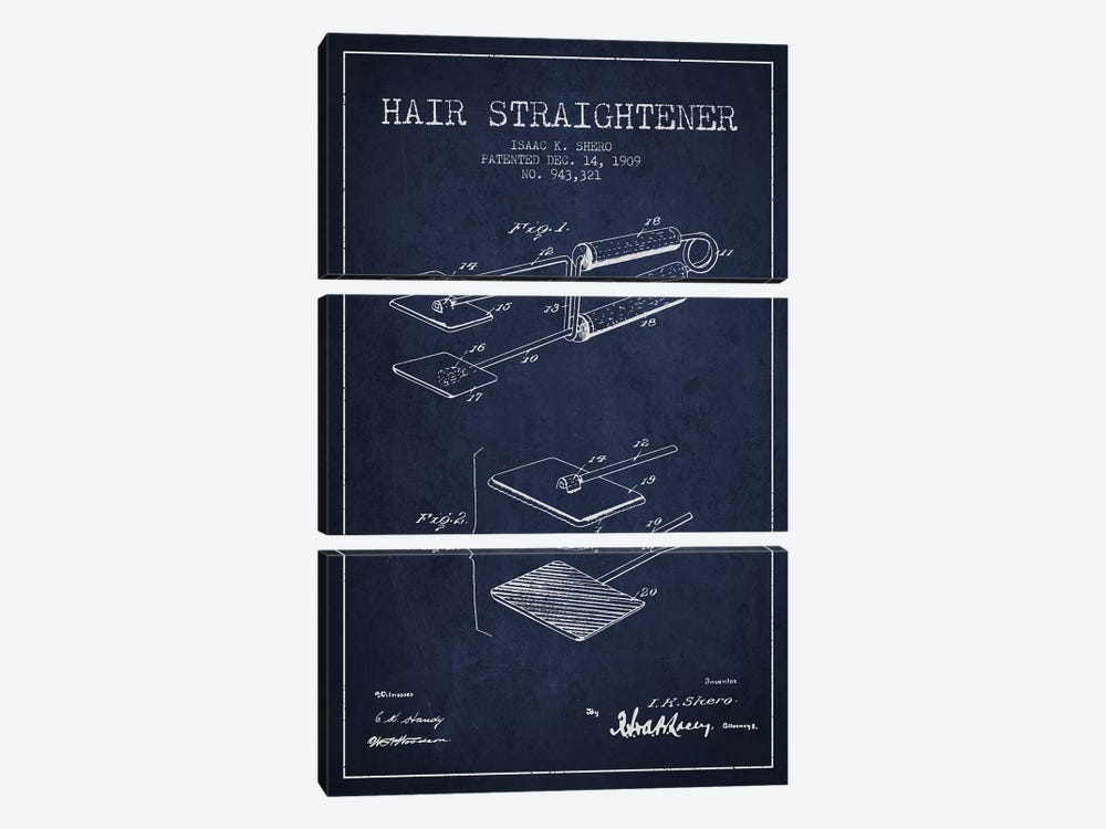 Hair Straightener Navy Blue Patent Blueprint by Aged Pixel 3-piece Canvas Print