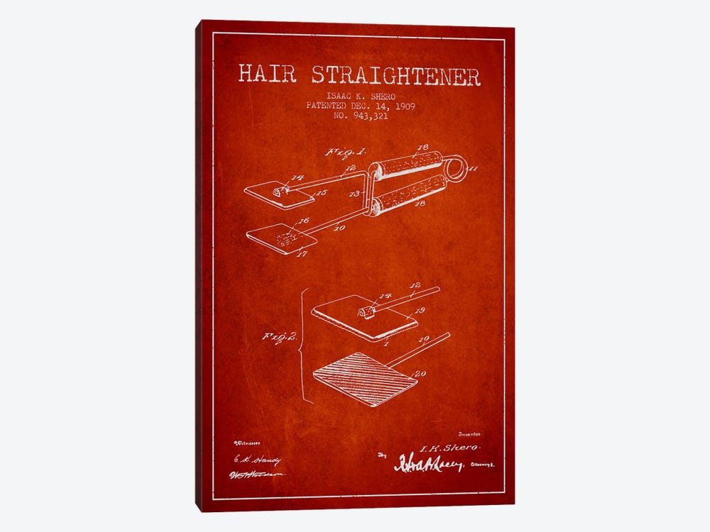 Hair Straightener Red Patent Blueprint by Aged Pixel 1-piece Canvas Wall Art