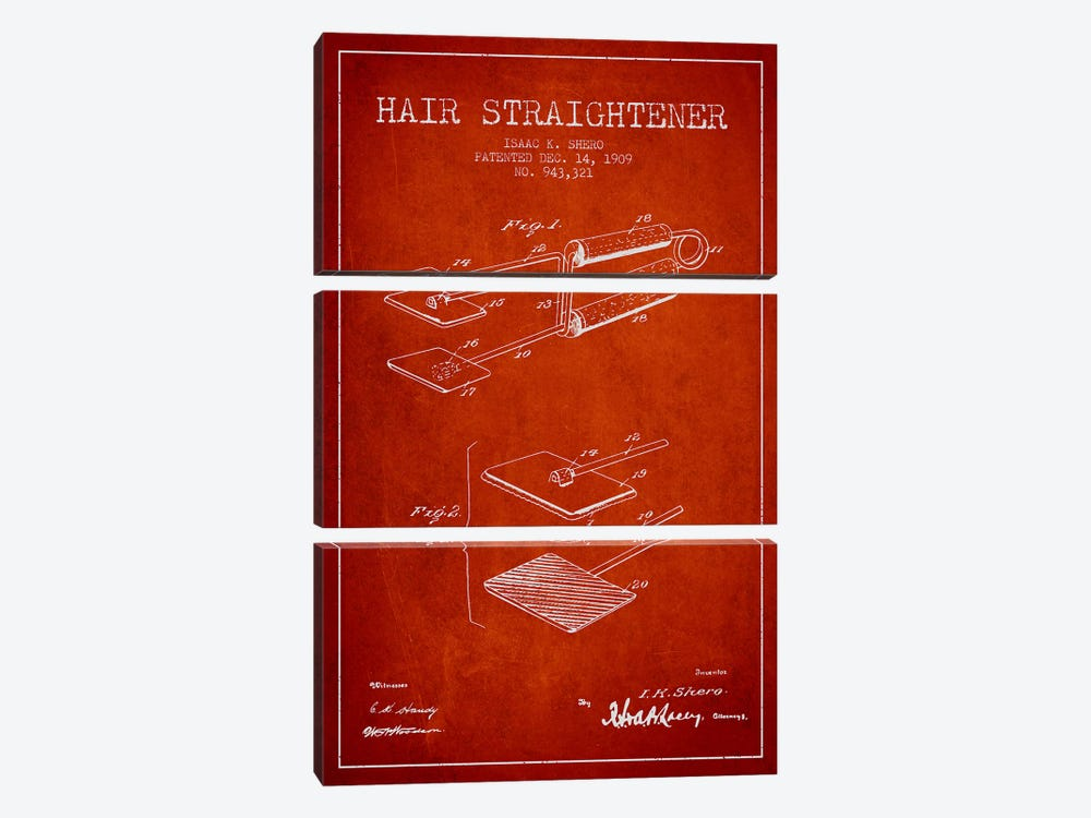 Hair Straightener Red Patent Blueprint by Aged Pixel 3-piece Canvas Wall Art