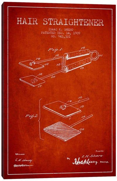 Hair Straightener Red Patent Blueprint Canvas Art Print