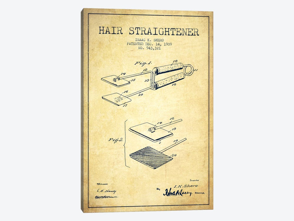 Hair Straightener Vintage Patent Blueprint by Aged Pixel 1-piece Canvas Print