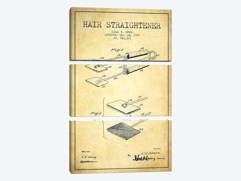 Hair Straightener Vintage Patent Blueprint by Aged Pixel 3-piece Art Print