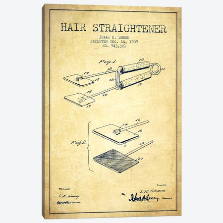 Hair Straightener Vintage Patent Blueprint Canvas Print #ADP342} by Aged Pixel Canvas Artwork