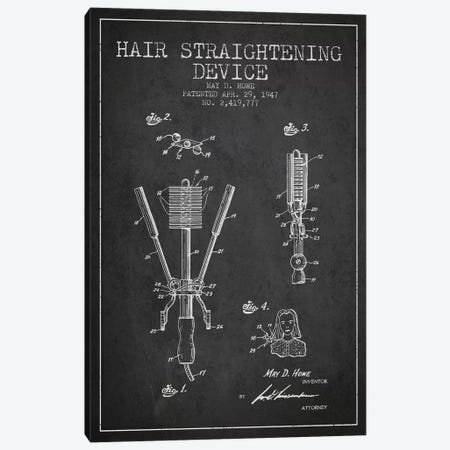 Hair Straightening Charcoal Patent Blueprint Canvas Print #ADP343} by Aged Pixel Canvas Art