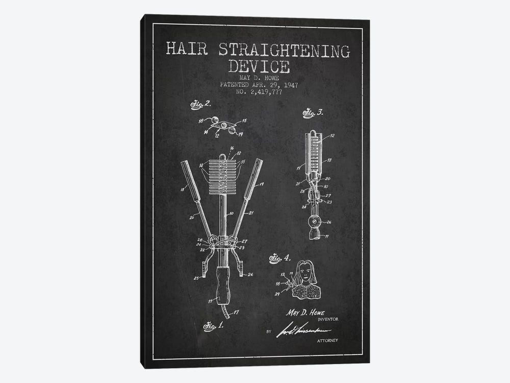 Hair Straightening Charcoal Patent Blueprint 1-piece Canvas Wall Art