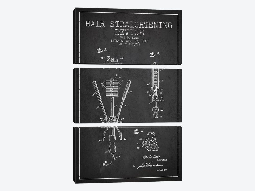 Hair Straightening Charcoal Patent Blueprint by Aged Pixel 3-piece Canvas Artwork