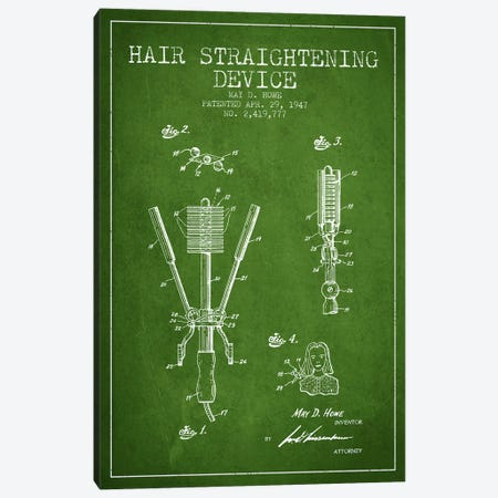Hair Straightening Green Patent Blueprint Canvas Print #ADP344} by Aged Pixel Art Print