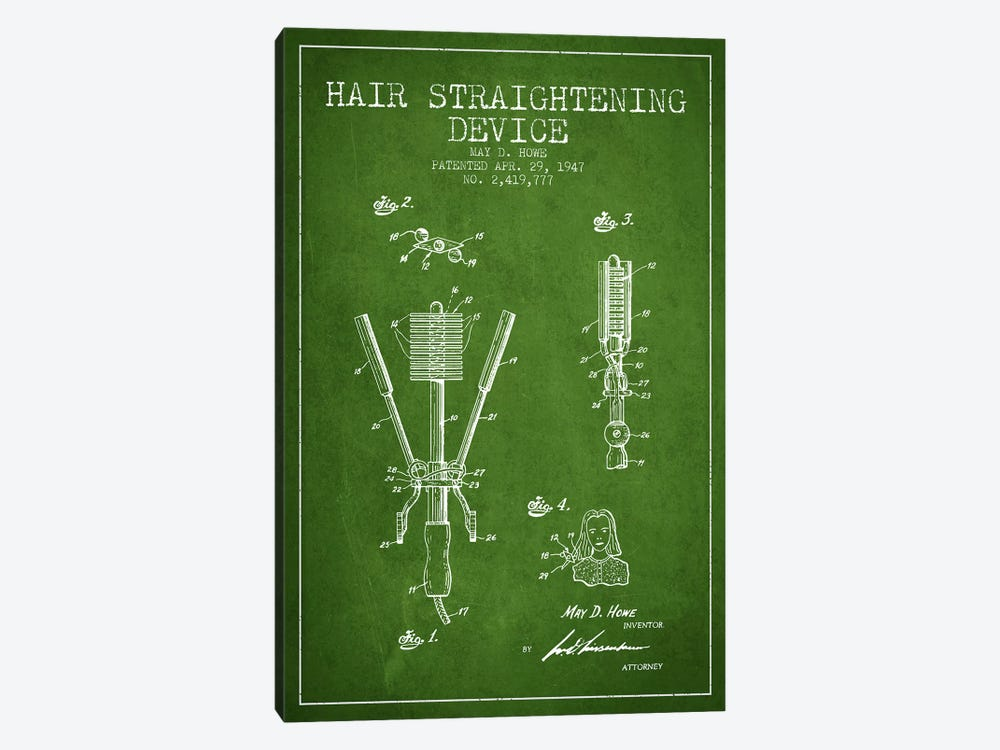 Hair Straightening Green Patent Blueprint by Aged Pixel 1-piece Art Print