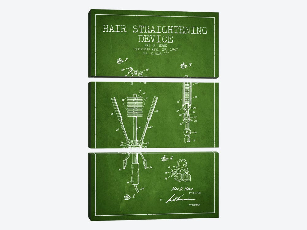 Hair Straightening Green Patent Blueprint by Aged Pixel 3-piece Canvas Print