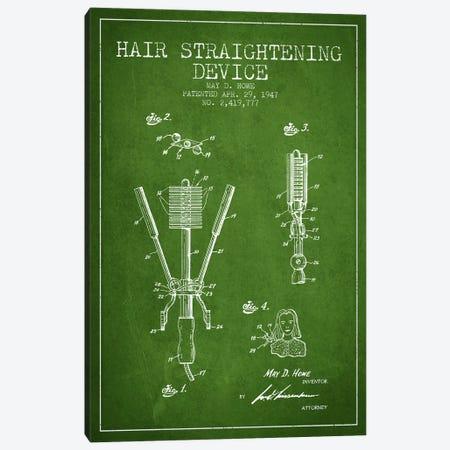 Hair Straightening Green Patent Blueprint Canvas Print #ADP344} by Aged Pixel Art Print