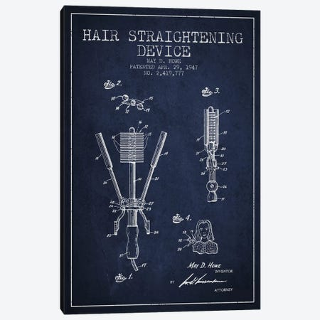 Hair Straightening Navy Blue Patent Blueprint Canvas Print #ADP345} by Aged Pixel Canvas Print