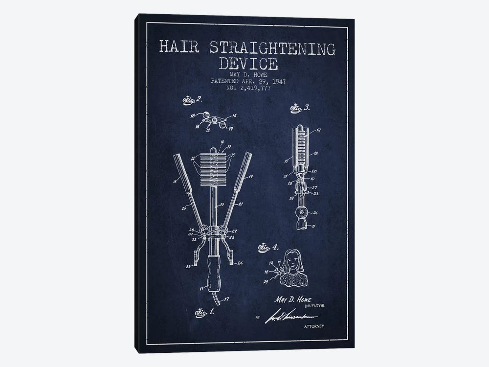 Hair Straightening Navy Blue Patent Blueprint 1-piece Canvas Wall Art