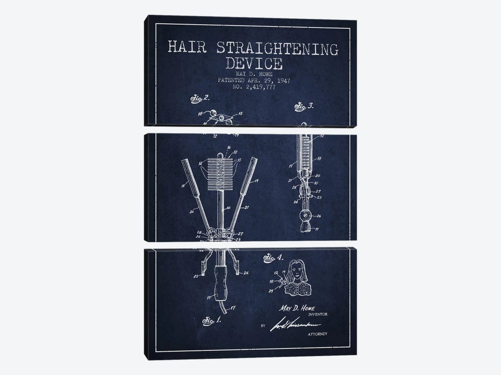 Hair Straightening Navy Blue Patent Blueprint by Aged Pixel 3-piece Canvas Artwork