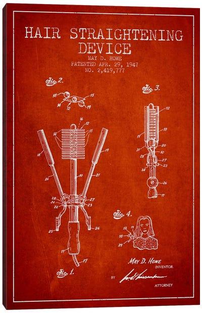 Hair Straightening Red Patent Blueprint Canvas Print #ADP346