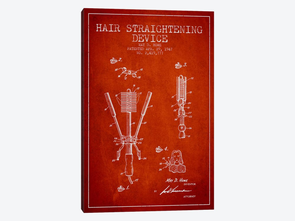 Hair Straightening Red Patent Blueprint by Aged Pixel 1-piece Art Print