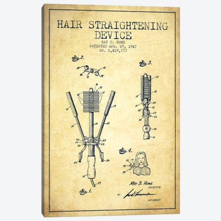 Hair Straightening Vintage Patent Blueprint Canvas Print #ADP347} by Aged Pixel Canvas Print