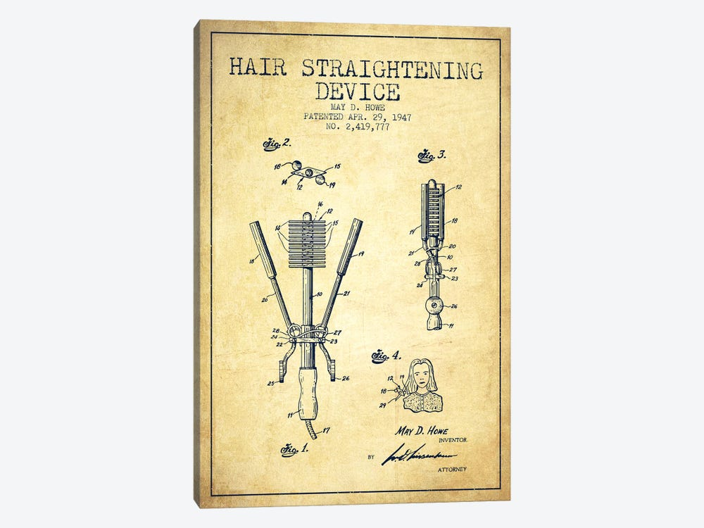 Hair Straightening Vintage Patent Blueprint by Aged Pixel 1-piece Canvas Wall Art