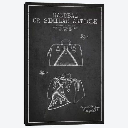 Handbag Similar Article Charcoal Patent Blueprint Canvas Print #ADP348} by Aged Pixel Canvas Artwork