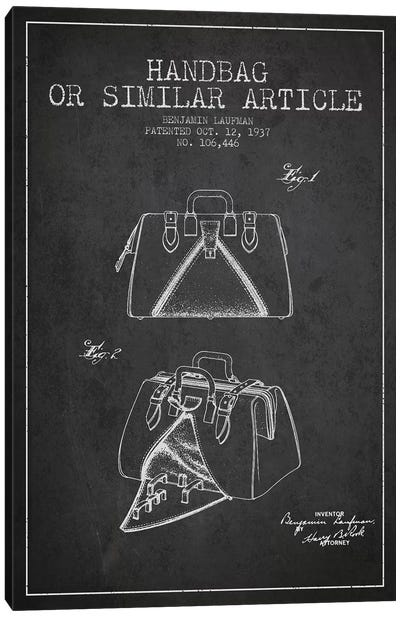 Handbag Similar Article Charcoal Patent Blueprint Canvas Art Print